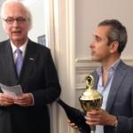 Charles Zijderveldt, honorair consul-generaal, en Jeff Visser van Bouquet Box. winnaar van Elevator Pitch Borrel 2015